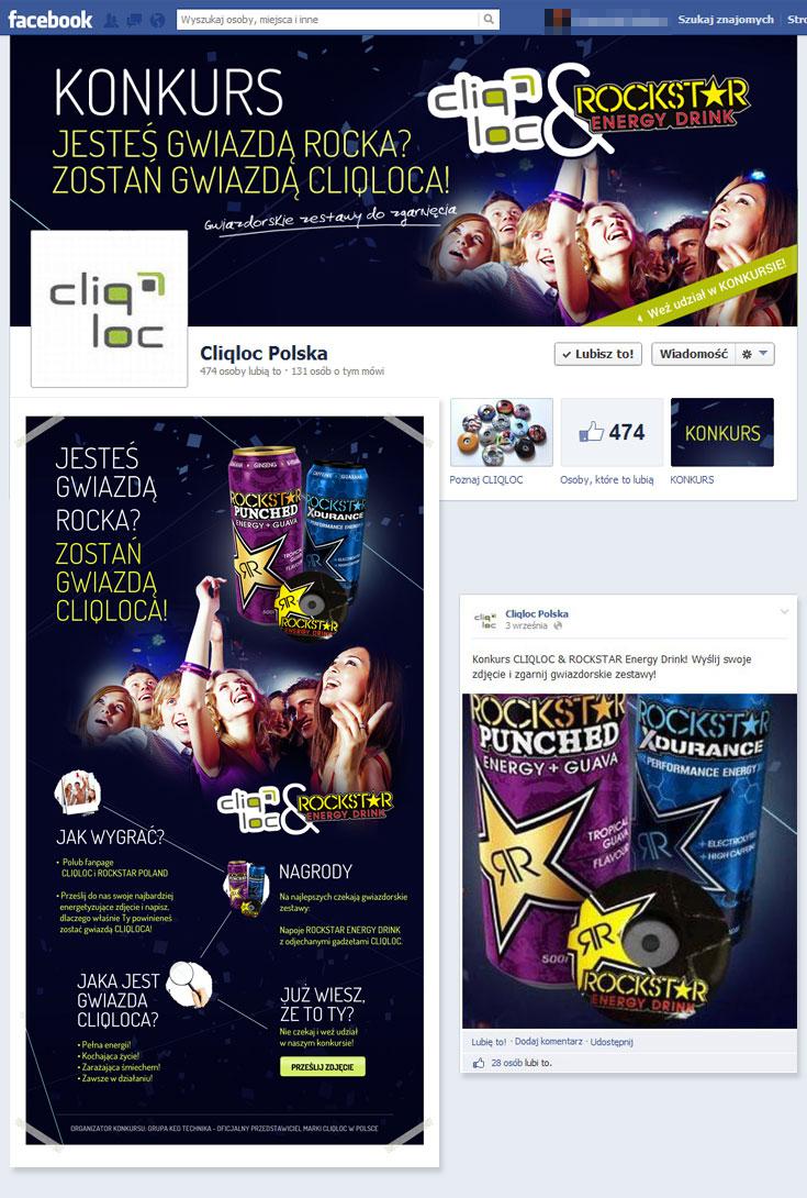 Konkurs Cliqloc na portalu facebook