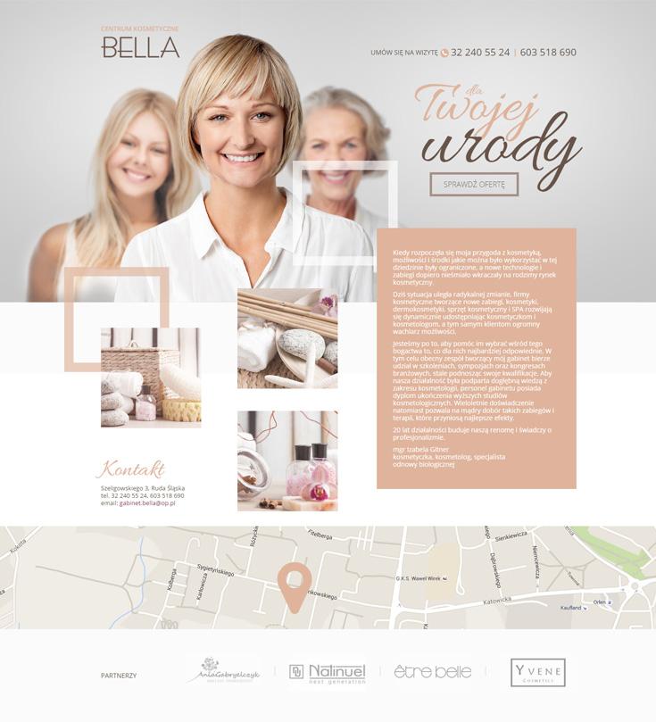 Centrum kosmetyczne Bella - strona internetowa