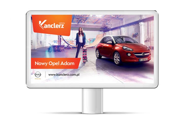 Kanclerz - Opel Adam - reklama zewnętrzna