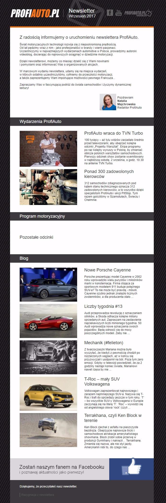 ProfiAuto newsletter RWD