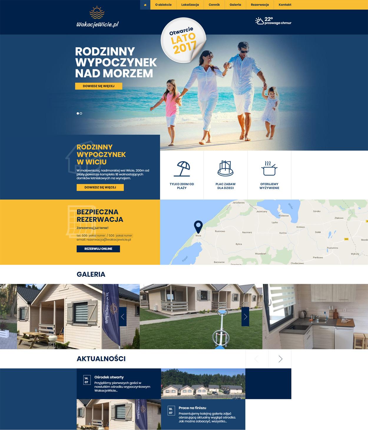 WakacjeWicie - strona internetowa z systemem rezerwacji